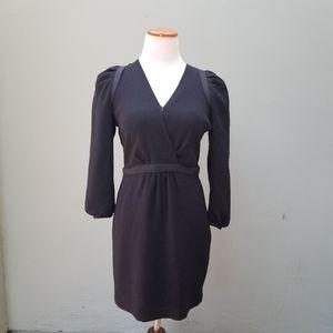 Maje Puff Sleeve V-Neck Black Dress